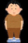 体重計に乗る人のイラスト(男性・肥満